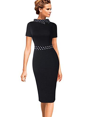 VfEmage Womens Celebrity Colorblock Lapel Wear to Work Office Sheath Dress 9285 BLK M ()