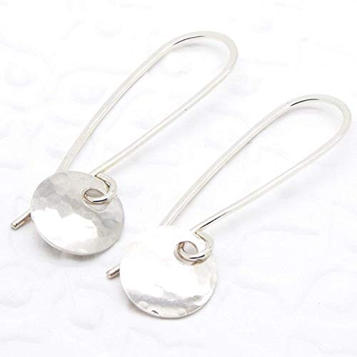 Tiny Disc Earring in Hammered Sterling ()