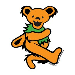 """GDP Inc - 3"""" Grateful Dead Dancing Bear Sticker - Orange - 3"""" x 3"""" - Weather Resistant, Long Lasting for Any Surface"""