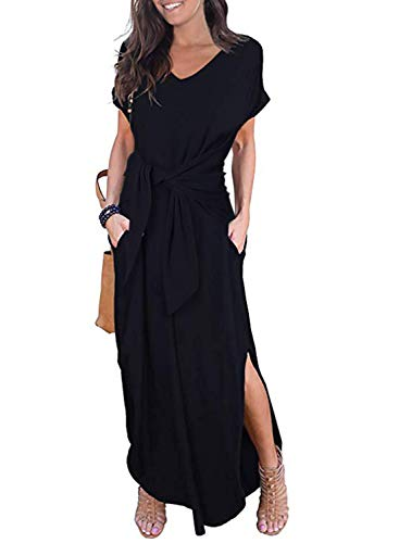 Black Polyester Extra Long Ties - CANIKAT Women's V Neck Short Sleeve Tie Knot Front Pocket Long Dress Casual Loose Split Maxi Dresses Black L