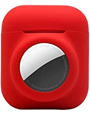 LUOWAN Case voor Airpods 1 & 2, 2 in 1 siliconen hoesje voor AirTags Cover voor AirPods 1 2, koptelefoon Loss Prevention Case Accessoires Skin Protective Sleeve (rood)