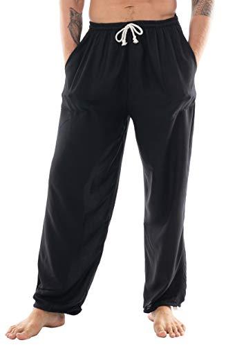 CandyHusky Mens Loose Fit Casual Summer Pajama Workout Tai Chi Yoga Pants Rayon (Black)