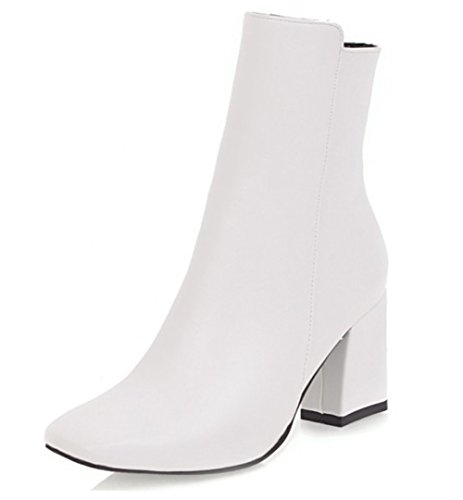 WAROFT Ladies Solid Color Square Toe Chelsea Boots Block Middle Heels Chunky Ankle Boots with Side Zipper Size 3-8.5 White