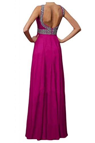 Toscana novia para mujer Rueckenfrei gasa largo vestido de noche vestidos de fiesta en vestidos de bola Prom fucsia
