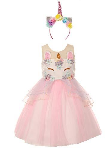 Little Girls Pink Multi Unicorn Floral Appliques Headband Flower Girl Dress - Allure Couture Wedding Dresses