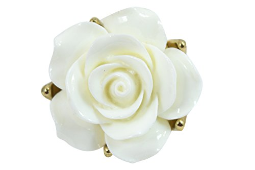 [Victorian Rockabilly Bridal Eternal Love White Rose Ring] (Gothic China Doll Costume)