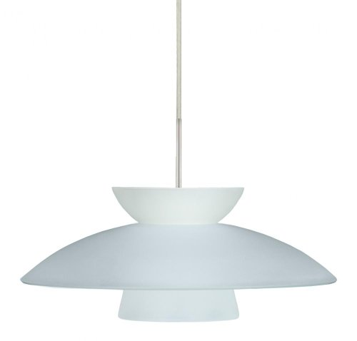 Besa Lighting 1JT-451325-SN 1X75W A19 Trilo 15 Pendant with Frost Glass, Satin Nickel Finish