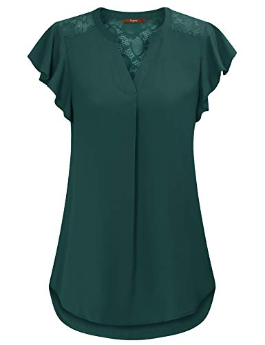 - Gaharu Women Blouses for Work Pleated Office Blouses for Women Lace Hollow Chiffon Shirts Flutter Sleeve Roomy Pintuck Comfy Tunic Blouses Dark Green,XL