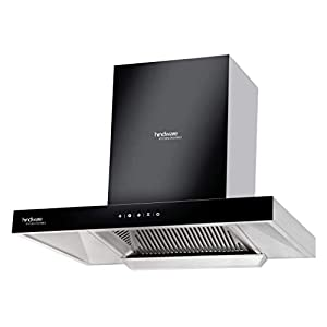 Hindware 60 cm 1200 m³/HR Auto-Clean Angular Kitchen Chimney (C100162, Filterless Technology, Touch Control, Black and…