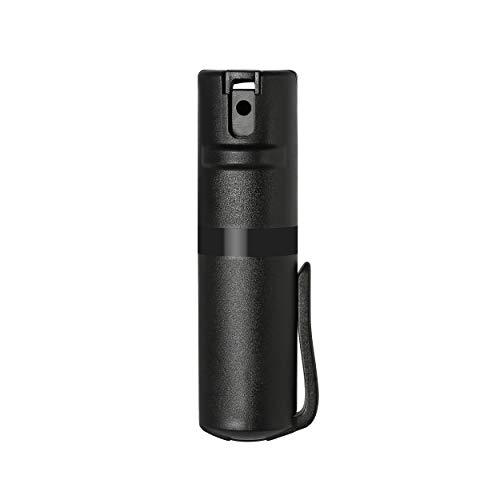 POM Black Pepper Spray Pocket Clip Model - Maximum Strength Self Defense OC Spray Safety Flip Top 10ft Range Running and Outdoors (Black)