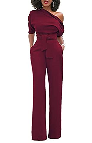ONLYSHE Women's Sexy One Off Shoulder Jumpsuits Wide Leg Long Romper Pants with Belt Wine Red X-Large