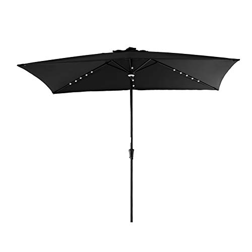 C-Hopetree Lighted Outdoor Patio Sun Shade Umbrella, 6'6″ x 10′ Rectangular with Crank Winder Black