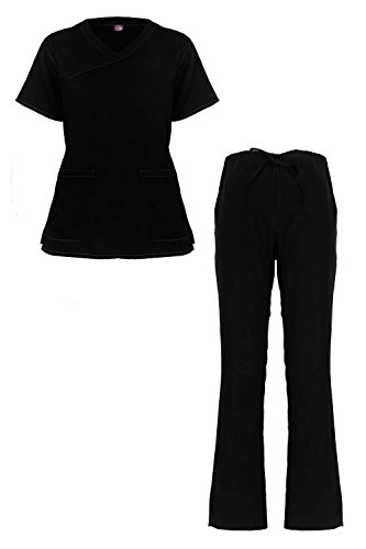MediFit Women's Solid Scoop Neck Two Pocket Medical Top & Pants Scrub Set(SET-MED,BLKA2-L)