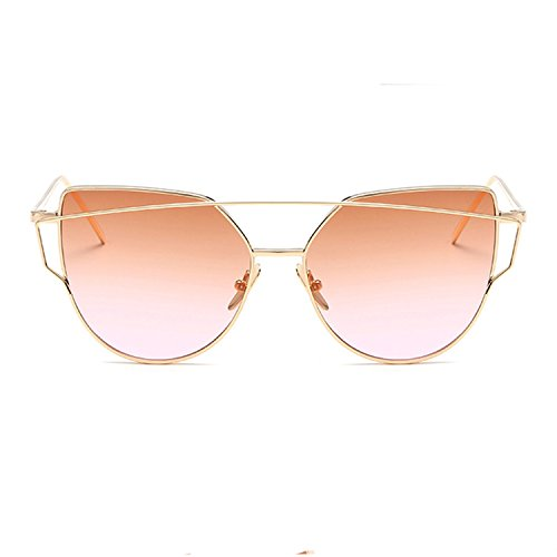 Homesuns Sunglasses Women Luxury Cat eye Brand Design Mirror Flat Rose Gold Vintage Cateye Fashion sun glasses lady Eyewear,A4