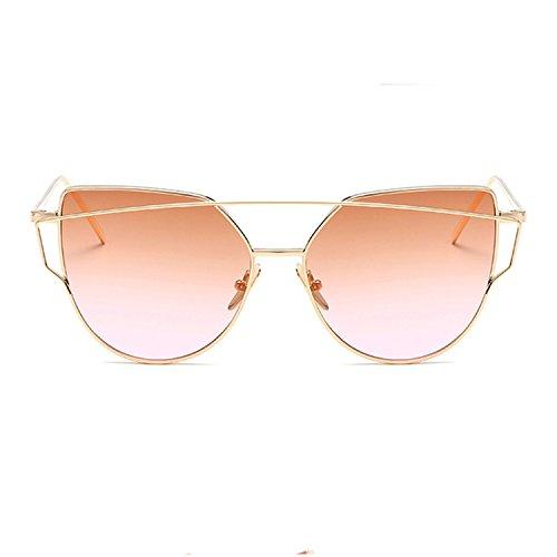 Homesuns Sunglasses Women Luxury Cat eye Brand Design Mirror Flat Rose Gold Vintage Cateye Fashion sun glasses lady Eyewear,A4
