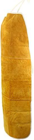 LESOLEIL Rindsleder Schweißschürze Leder Anti-Splash Zubehör Schutz Arbeitskleidungsstück Gelb