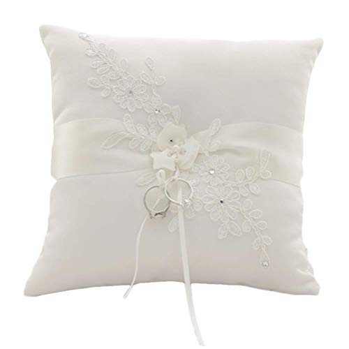 GuiHe Lace Pearl Ivory Satin Flower Wedding