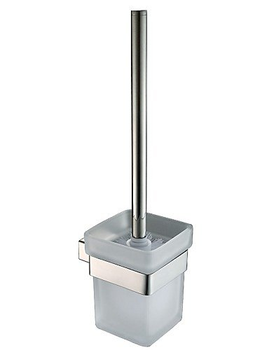 XY&XH Toilet Brush Holder , Glass Toilet Brush Cup Polished Stainless Steel Wall Mounted Square Toilet Brush Holder Set
