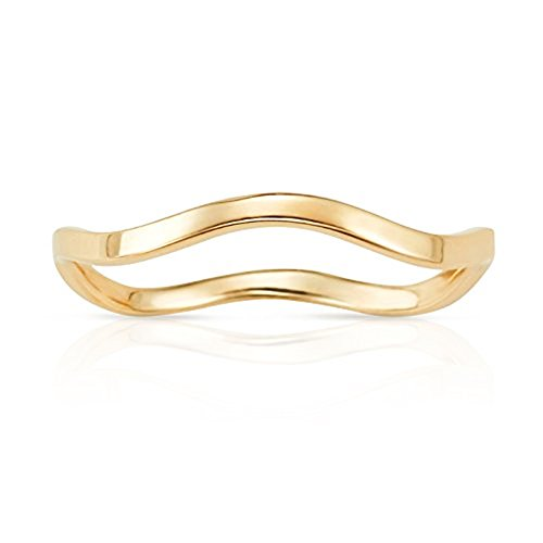 Simple Solid Wave Stackable Ring in 14K Yellow Gold (10) by Jewel Connection