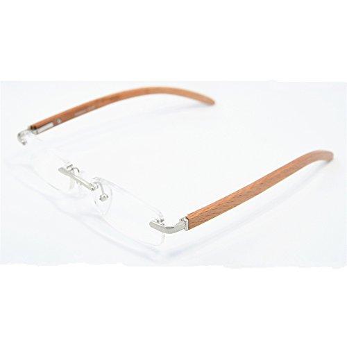 Yellowrock Handmade Wooden Leg Rimless Reading Glasses (Silver, - Wooden Glasses Reading