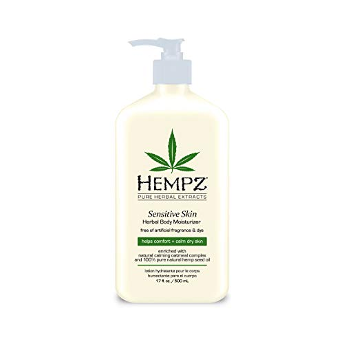 Hempz Sensitive Skin Herbal Body Moisturizer with Oatmeal, Shea Butter for Women and Men, Premium, Soothing Body Lotion…