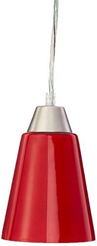 (Lite Source LS-19490RED Pendant with Red Glass Shades, Steel Finish)