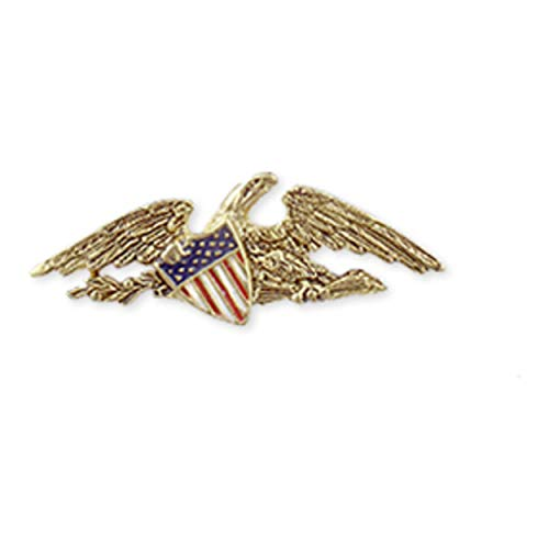 pricegems Antiqued Finish Patriotic American Eagle Flag Lapel Pin with Crest Museum Jewelry Crafted in USA
