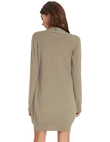 Women's Oversized Open Front Draped Pockets Knit Cardigan Pullover Sweater Tan L