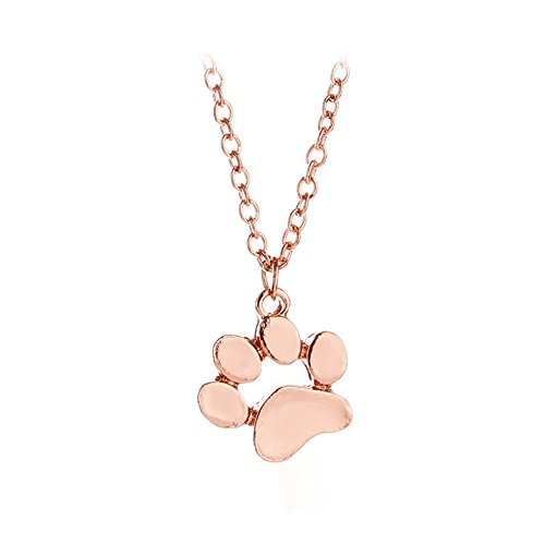 Cute Popular Dog Animal Footprint Alloy Long Pendant Necklace Jewelry (Rose Gold)