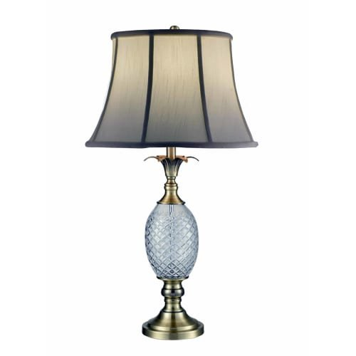 (Dale Tiffany SGT17041 Brass Pineapple 24% Lead Crystal Table Lamp, Antique)
