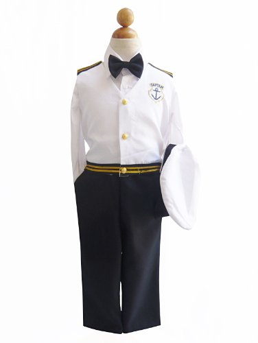 Boy's Nautical Captain Suit Set with Hat White Navy Blue Costume (Baby-Medium)