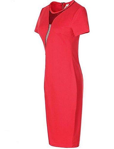Longitud La Redondo Size Mujer Plus Rodilla La Rojo Fiesta Con Mujer Mangas JIALE3536 De Cortas Vestido Cuello Fiesta Vestido qHT1ZT