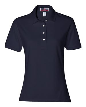 Jerzees-Ladies' 5.6 oz., 50/50 Jersey Polo with SpotShield~True Navy~Womens-LG (Navy Blue Polo Hoodie)