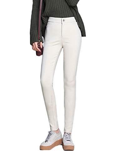 Slim Beige Alta Pantaloni Vita Elasticità Donna Leggings Pants Velluto A Lungo Più qxBEEAg