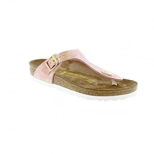 Birkenstock Women's Gizeh Cork Footbed Thong Sandal Rose Snake 39 M EU - Birkenstock Gizeh Women 39
