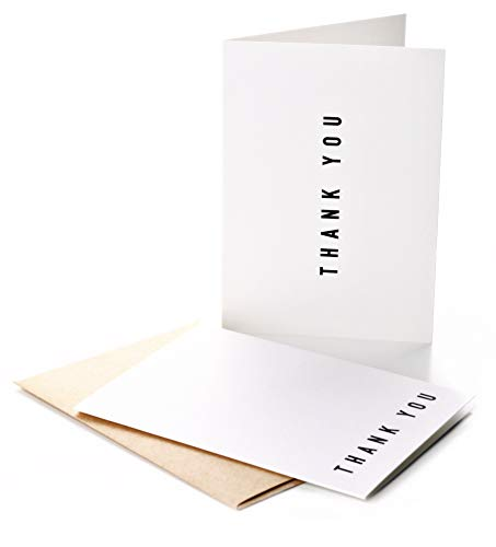 100 Thank You Cards Bulk With Self-Seal Envelopes - 2 Designs of Elegant Modern Thank You Cards For Any Occasion - Wedding, Engagement, Funeral, Graduation, Business]()