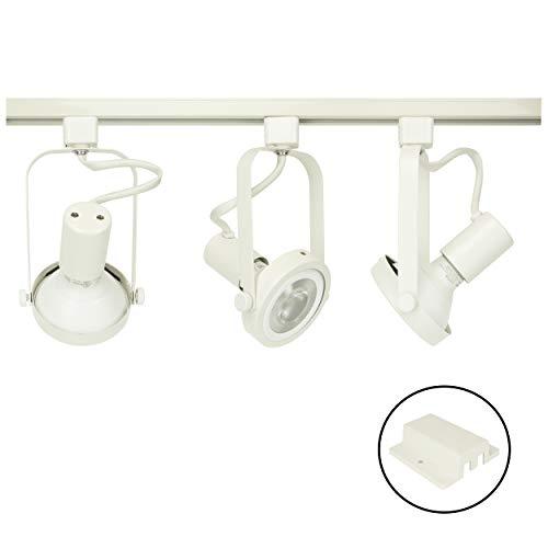 D&D Brand H System 3-Lights PAR30 LED Track Lighting Kit Gimbal Ring Rear Loading White 3K Warm White HTC-9005-330K-WH Bulbs (White Par30 Track Light)