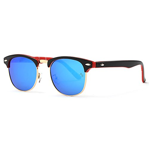 AEVOGUE Polarized Sunglasses Semi-Rimless Frame Brand Designer Classic AE0369 Black&red&blue