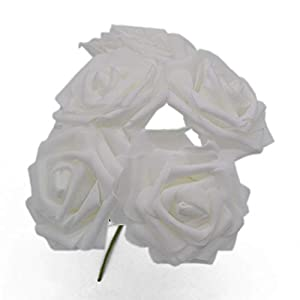 peals Artificial Rose Flower Wedding Bridal Bouquet Home Decor Rose Scrapbooking Supplies,White 72