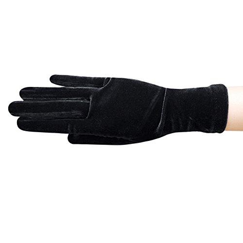 ZaZa Bridal Stretch Velvet Gloves Wrist Length 2BL-Black