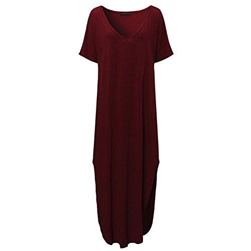 Jaksontimoth Summer Long Dress Women V neck Short Sleeve Side Split Casual Loose Beach Dresses Wine Red (Kids Fancy Dress Next Day Delivery)