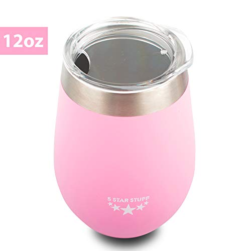 Vacuum Insulated Wine Tumbler with Lid, 5 Star Stuff 100% Double Wall Stainless Steel Insulated Wine Tumbler, Durable Insulated Coffee Mug, for Champaign, Cocktail, Beer, Office-12oz Pink (Star Wine Five)