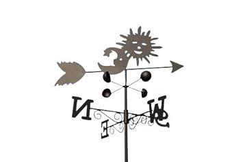 Veleta - Veleta de acero con diseño de SOL Y LUNA - Incluye piqueta y fijación para pared.: Amazon.es: Jardín