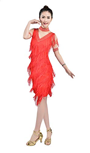 Whitewed 1920 the Gatsby Style Girls Flapper Themed Dance Competition Costumes, Red, 4/6]()