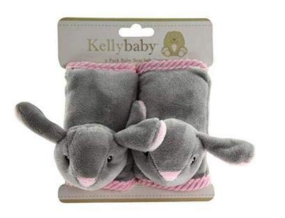 Price comparison product image UPD Bunny Grey Baby Seat Belt Cover with Pink Corduroy Trim 2 pcs