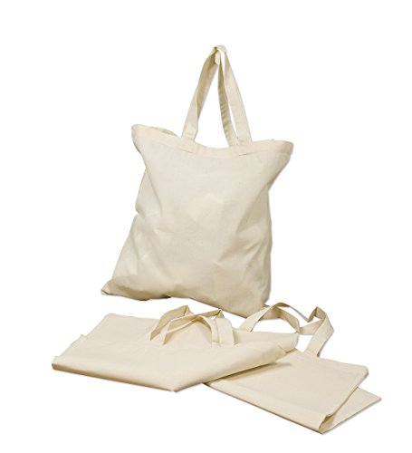 Best Deal! (6 Pack only for $ 16.9) Basic Reusable Cotton Tote Bags, Great for Business Promotional Event Bag, Diy Craft Arts, Screen Prints,Party Favor Bags (6, Natural)