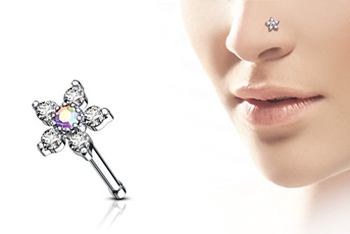 Forbidden Body Jewelry 20g Surgical Steel Nose Stud with Big Bling 6-CZ Crystal Flower, Aurora Borealis/Clear by Forbidden Body Jewelry (Image #2)