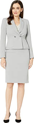 Tahari by ASL Women's Crepe Skirt Suit with Flat Pocket Silver/Grey 18 ()