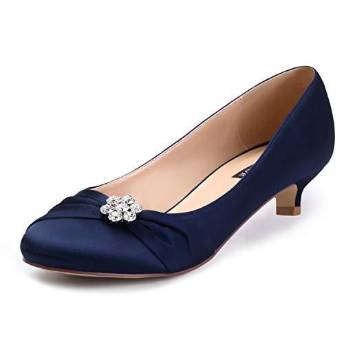 ERIJUNOR E0110 Women Closed Toe Comfort Kitten Heels Rhinestones Satin Wedding Evening Dress Shoes Navy Size 10