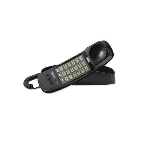 VTech AT&T 210BK Corded TrimLine Phone,Lighted Keypad, (Trimline Black Telephone)